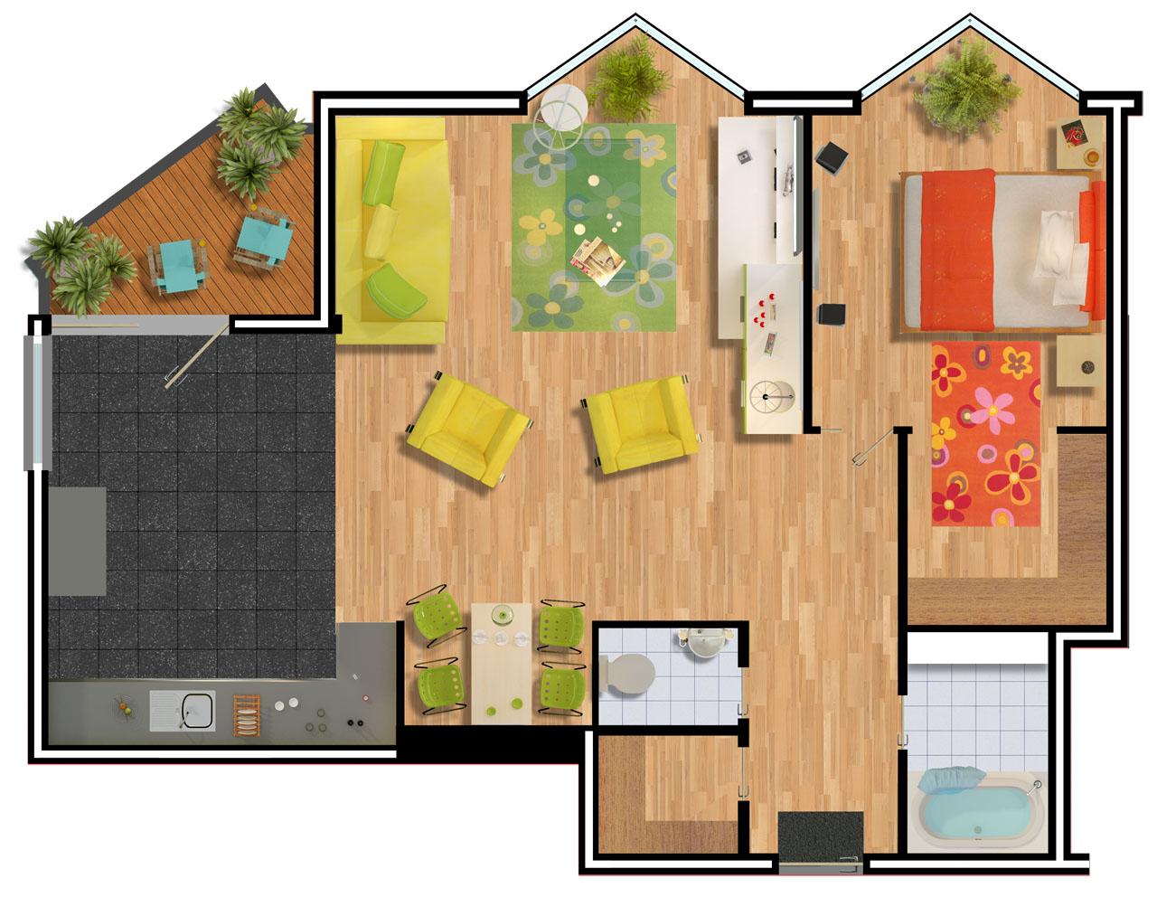 Resolutie dit is een voorbeeld van 2d plattegrond van een appartement